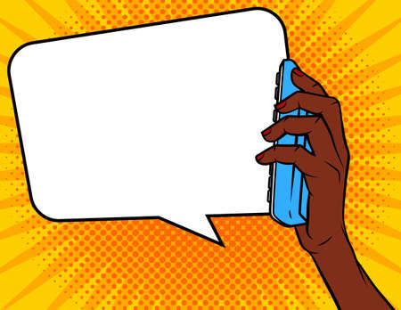 Vector Comic pop art style illustration. Dark skin female hand with phone. Concept design banner of conversation. Dialog with speech bubble over dot background