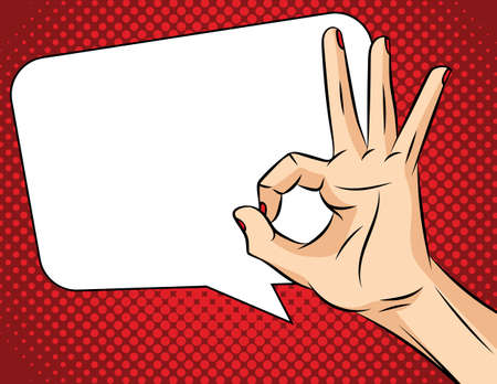 Vector illustration of pop art comic style. Female hand on a red background. Agreement sign. Woman's Hand shows the sign