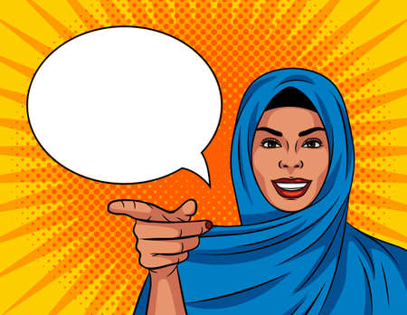 Colored vector illustration in pop art comic style. Beautiful Muslim woman in a traditional shawl on her head. The girl points her finger at you. The woman gestures to you. Arab woman smiling.