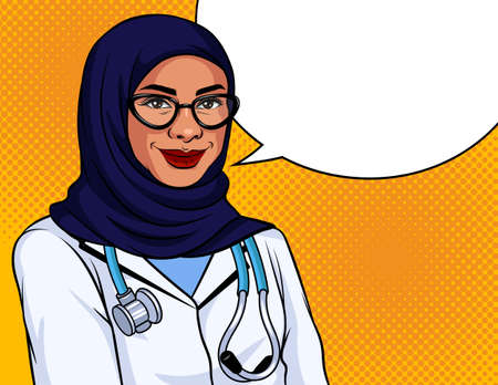 Vector color illustration in pop art style. Muslim woman doctor in traditional scarf and glasses. Arab woman nurse in uniform is standing and smiling.