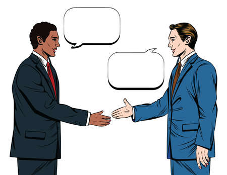 Vector color illustration of comic style. Two men in suits are shaking hands isolated on white background. Two businessmen of different nationalities shake hands in agreement. Office team