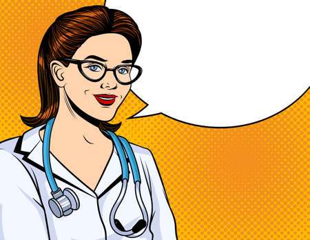 Color vector illustration in pop art style. Doctor woman smiling. A doctor in a white coat with a stethoscope around his neck. Doctor in uniform on a yellow halftone dot background