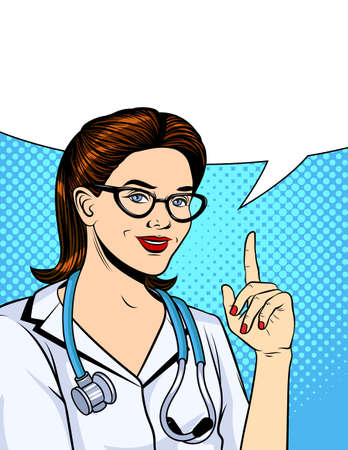 Vector color illustration in pop art comic style. Nurse is pointing finger up. Doctor woman with stethoscope wearing white uniform. Advertising vintage banner for clinics and hospitals
