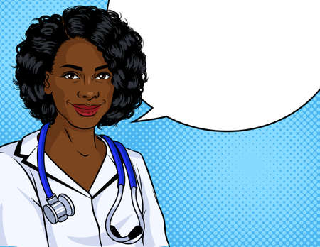 Vector color illustration in pop art style. African American woman in a white nurse uniform. Black woman doctor with stethoscope over her neck Иллюстрация