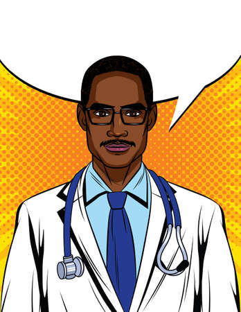 Color vector illustration in pop art style. Black male doctor with a stethoscope around his neck. Portrait of an African American doctor in a white uniform. Clinic promotion poster Иллюстрация