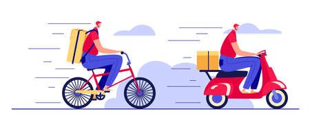 Color vector illustration in flat style isolated on white background. Fast food delivery by courier. Set of food delivery man on a scooter and on a bike. Design for a web page for ordering food online Иллюстрация
