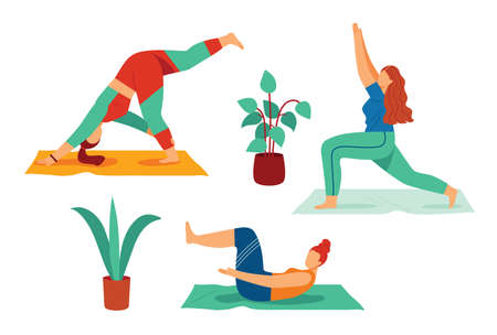 Color vector illustration in flat style isolated on white background. The girl is engaged in yoga. A woman practices yoga asanas. Slim young girl goes in for sports at home Иллюстрация