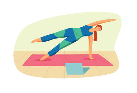 Color vector illustration in flat style isolated on white background. Template for yoga studio. The girl practices yoga on the mat. Young woman exercising at home online Иллюстрация