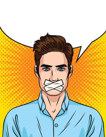 Colored vector illustration in pop art style isolated on halftone dots background. Young handsome guy of European style with a sealed mouth. The man cannot speak