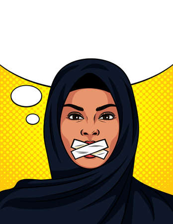 Color vector in pop art comic style with sealed mouth. Beautiful woman in traditional Islamic shawl on her head. Muslim woman cannot speak