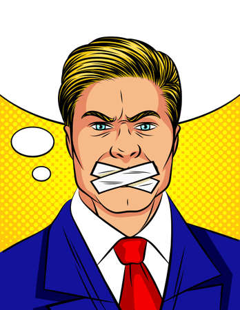 Color vector pop art comic style man with a sealed mouth. An attractive man in a suit cannot speak.