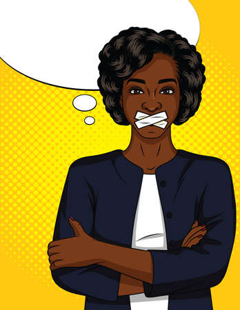 Color vector pop art comic style woman with sealed mouth. A beautiful dark-skinned woman in a suit cannot speak. African american woman standing with closed mouth on yellow halftone background