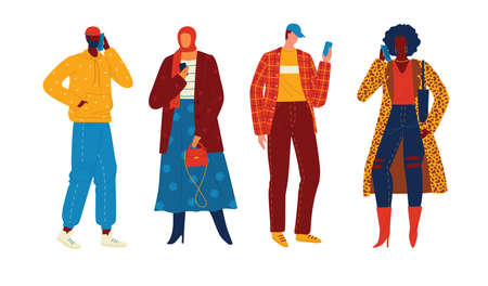 Set of vector characters in flat style isolated on white background. People are talking on the phone. Fashionably dressed teenagers use the phone