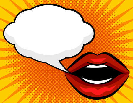 Color vector poster in pop art style. Female red lips with a white speech bubble over yellow dot background