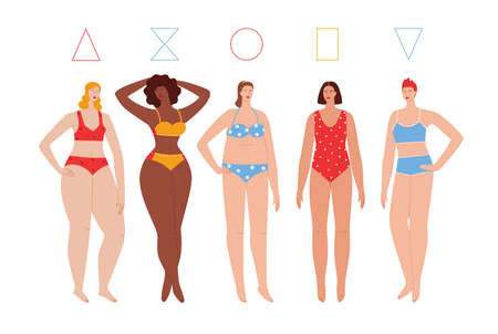 Color vector flat style illustration isolated on white background. Different types of female figures. Girls of different skin colors in swimsuits. Women with different body types 矢量图像