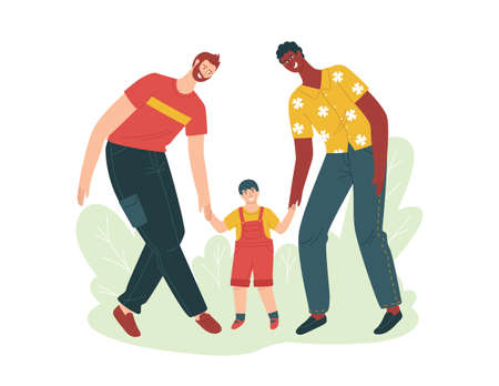 Color vector isolated illustration about adoption. Two fathers are playing with a child in the park. Same-sex couples' partnership with a child. Father's day. Mixed interracial couples. 矢量图像