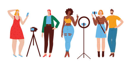 Color vector illustration in flat style isolated on white background. A group of people in fashionable clothes are using the phone. The girl takes a selfie. African American girl makes a photo.