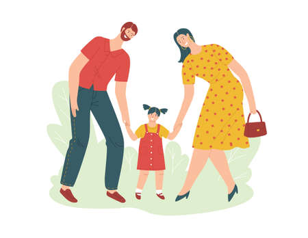 Color vector illustration in flat style isolated on white background. A young family is walking with a child. Beautiful couple with a baby in the park. Mom and Dad lead daughter by the hand