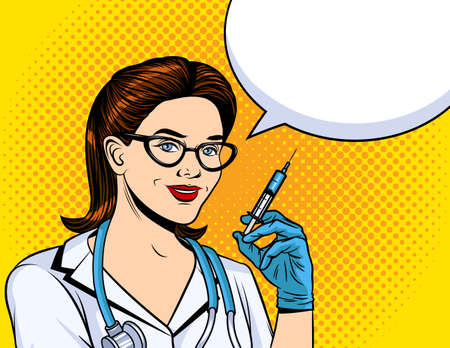 Vector color illustration in pop art style. The nurse holds a syringe in her hands. Girl paramedic in a white coat. Vaccination of the population. The doctor is ready to be vaccinated 矢量图像