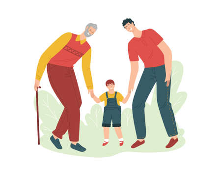 Vector color illustration in flat style isolated on white background. Grandfather father and grandson are walking in the park. Different generations. Old man, middle-aged man and child.