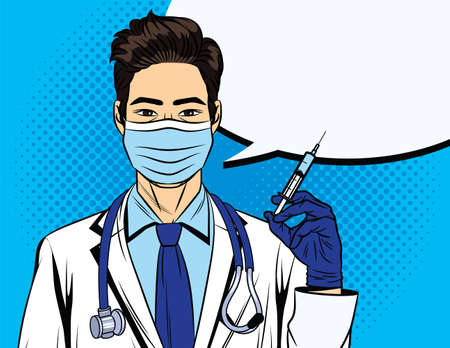 Colored vector illustration in pop art style. The doctor holds a syringe in his hand. The doctor gives a flu shot. Vaccination poster. A medical worker in a white coat with a stethoscope and mask.