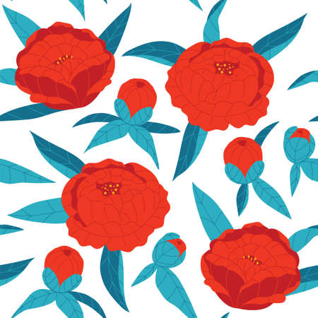 Colored vector seamless pattern. Red flowers with blue leaves on a white background. Hand-drawn peonies. Floral ornament for textile