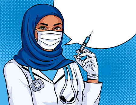 Colored vector illustration in pop art style. Woman doctor with a syringe in her hand. Vaccination poster. Muslim nurse wearing a traditional headdress. Medical worker with protective mask on  face 矢量图像