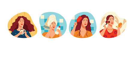 Colored vector illustration in flat style. Collection of stickers isolated on white background. Woman's morning routine. The girl is drinking coffee and doing makeup. The woman takes care of herself.