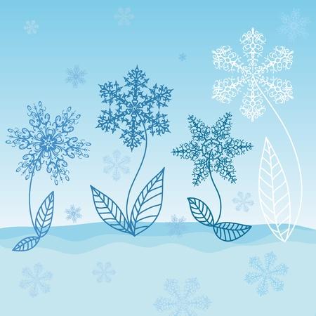 Sneeuwvlokken - Winter bloemen groeien in de sneeuw