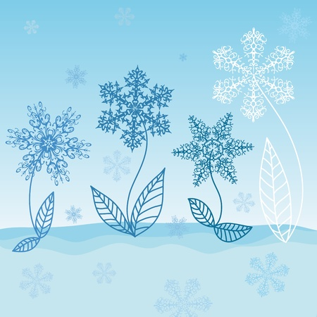 Snowflakes - Winter flowers grow in the snow Stock Vector - 10364572