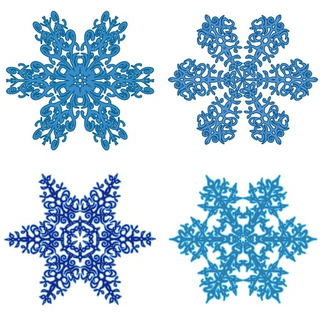 clip art of four beautiful snowflakes