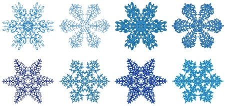 clipart of eight beautiful snowflakes Illustration