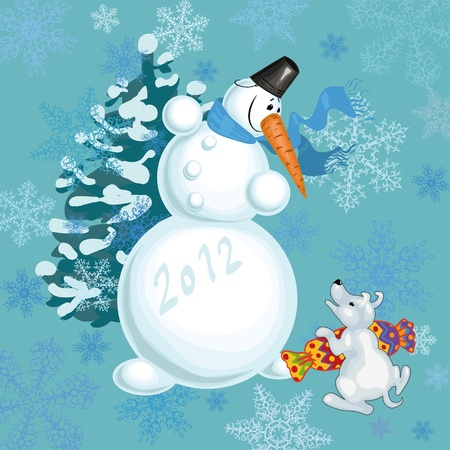 fun snowman and his friend - a little puppy celebrate the new year