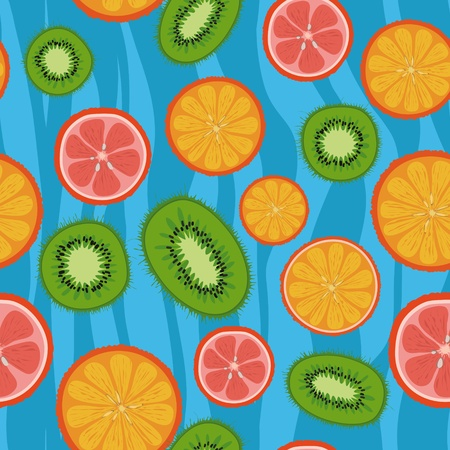 seamless texture of tasty and juicy tropical fruit on a blue background Illustration