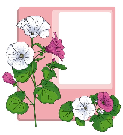 bouquet  flowers: pale pink frame with the rounded corners and surrounded by pink and white flowers Illustration