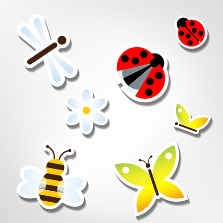 funny bugs stickers Vector