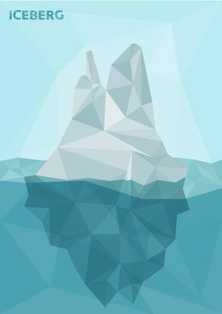 Stylized polygonal image of frozen iceberg