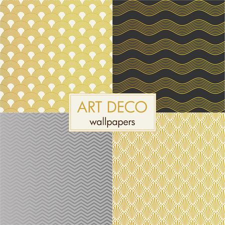 set of art deco wallpapers Illustration