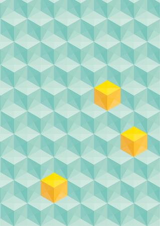 tetraedro: senza soluzione di continuit� astratta triangolare verde con cubi gialli