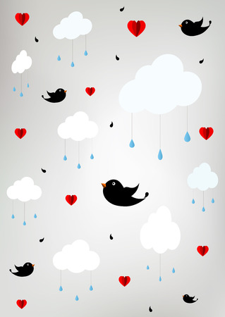 Stylized sky with clouds, raindrops, birds and hearts - paper cut Vector