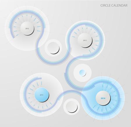 blue - gray circle calendar Vector