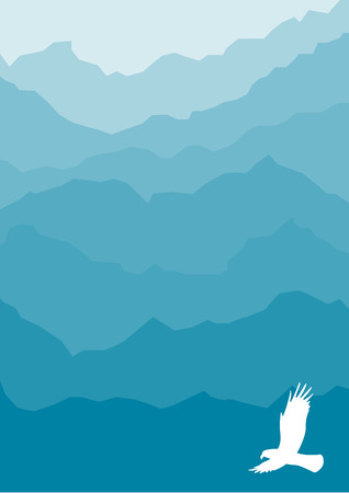stylized blue mountain silhouette with eagle Vector