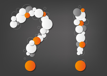 Question and exclamation mark made from dots on grey background Vector