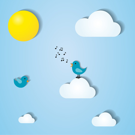 stylized sky illustration with singing birds, clouds and sun Vector