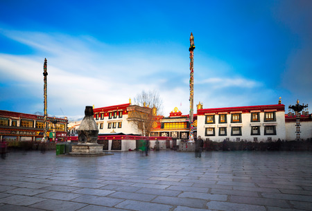 A 2019 long exposure image of the holiest temple for Tibetan Buddhists - Jokhang, in Barkhor square, Lhasa, Tibet.