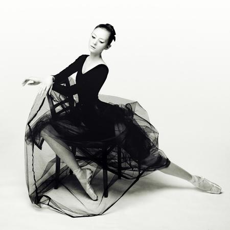 ballet dancing: Studio photo of a young dancer in black.