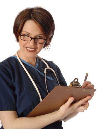 nurse writing on pad photo