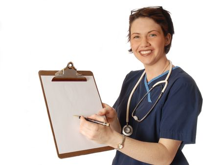 docotr in blue scrubs photo