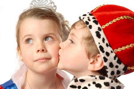 prince and princess: prince and princess kissing Stock Photo