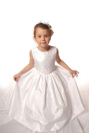 princesa: Chica en vestido blanco